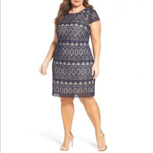 Eliza J Navy Cap Sleeve Shift Dress Lace 24W